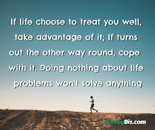 If life choose to treat you well,  take advantage of it; If turns out the other way round, cope  with it. Doing nothing about life  problems won't solve anything