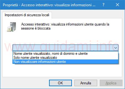 Gpedit opzione non visualizzare informazioni utente Windows