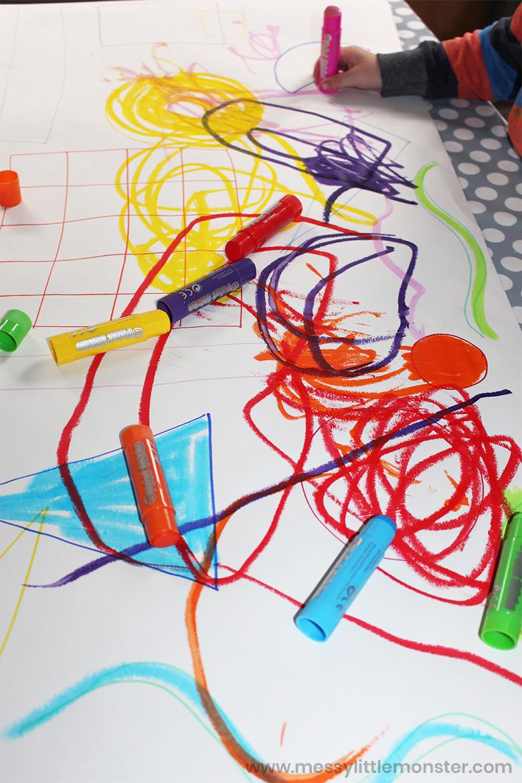 shape art for kids using paint sticks