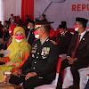 Kapolres Maros Didampingi Ketua Bhayangkari Cabang Maros, Upacara Peringatan HUT RI ke- 76 - 2021
