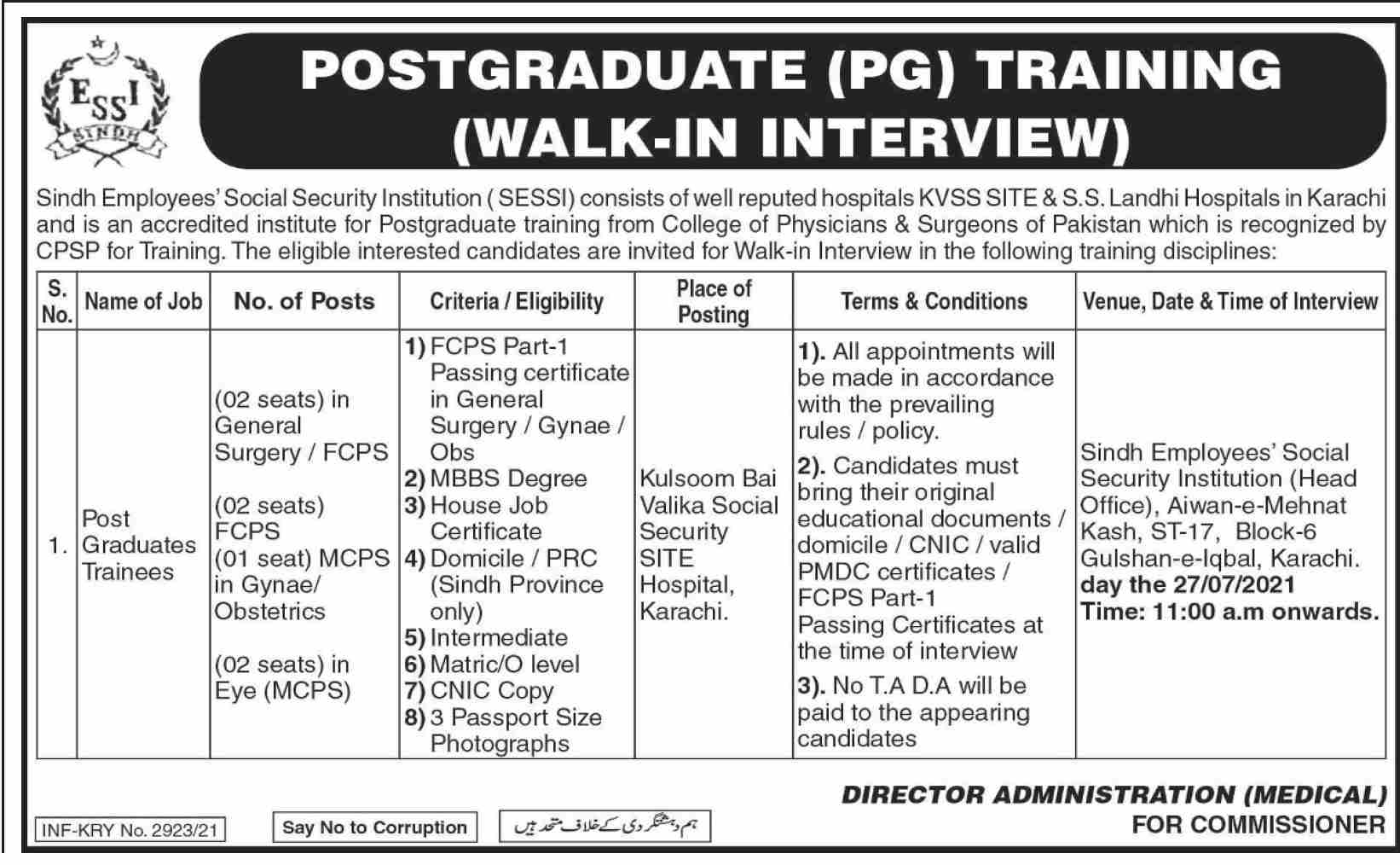 Sindh Employees Social Security Institution (SESSI) Jobs 2021 in Pakistan