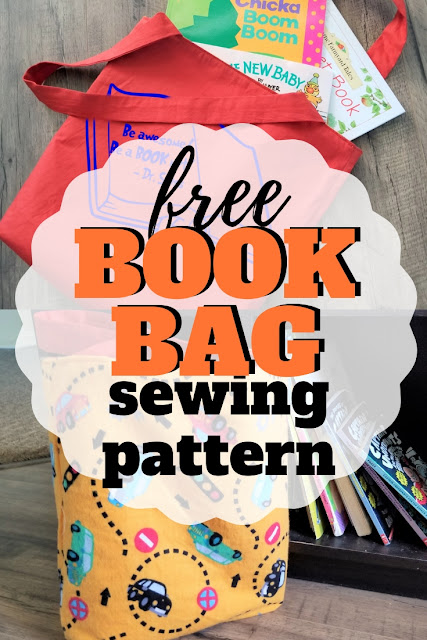 Simple reversible diy book bag pattern.  Perfect for taking to the library, school or park.  Great pattern for the sewing beginner.