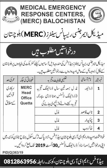 Medical Emergency Response Centre MERC Jobs in Quetta