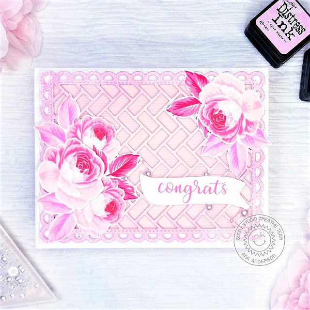 Sunny Studio Stamps: Frilly Frame Dies Everything's Rosy Banner Basics Everyday Card by Ana Anderson