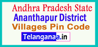 Ananthapur District Pin Codes in Andhra Pradesh State