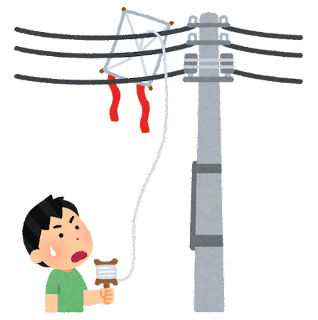 電線に引っかかった凧のイラスト