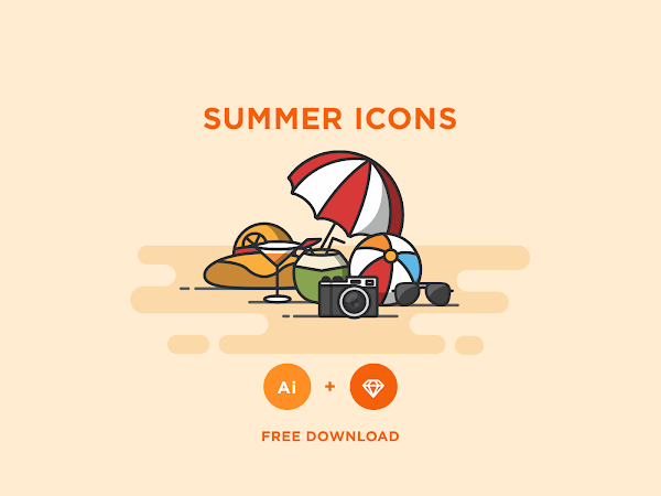 Download Vector Summer Icons Set Free