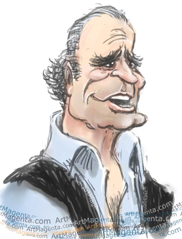 James Garner caricature cartoon. Portrait drawing by caricaturist Artmagenta