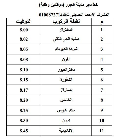 خط سير2 أتوبيس مدينة العبور لأكاديمية الشروق