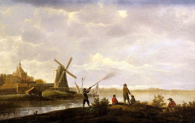 Альберт Кёйп - Вид на Дордрехт с охотником и раболовами. 1650-е