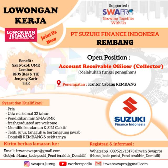 Lowongan Kerja Account Receivable Officer (Collector) PT Suzuki Finance Indonesia Rembang