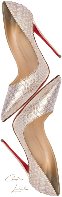 Christian Louboutin So Kate white gold python snakeskin leather pointed toe pumps #brilliantluxury