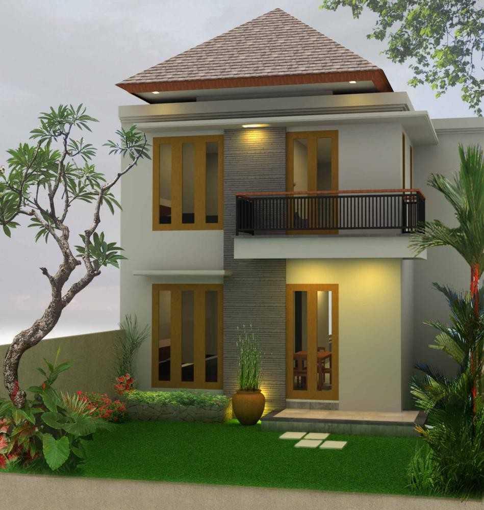 Desain Rumah 2 Lantai Sederhana dengan Atap Segitiga Unik dan Cantik dengan Taman Minimalis