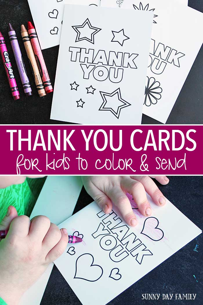 Free printable thank you cards for kids! This adorable set of printable cards are perfect for birthdays, holidays, or just to say thank you! Take our Thank You Card Challenge and send one every week to help spread kindness. Printables | Kids Coloring Pages | Coloring Notes | Cards to Color | Thank You Cards | Thank You Notes