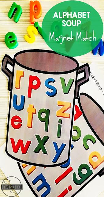 free alphabet soup magnet match activity. Black Bedroom Furniture Sets. Home Design Ideas
