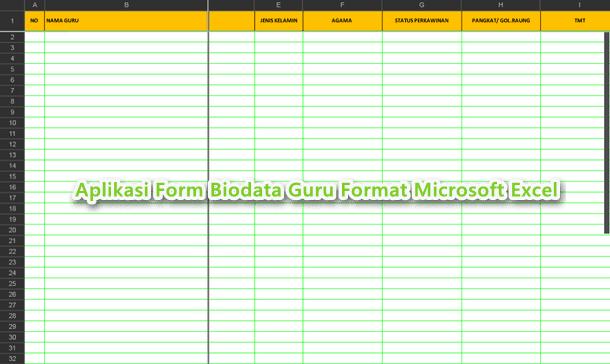 Aplikasi Form Biodata Guru Format Microsoft Excel