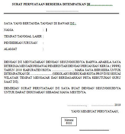 Contoh Surat Pernyataan Pppk 2019 Bersedia Ditempatkan Di