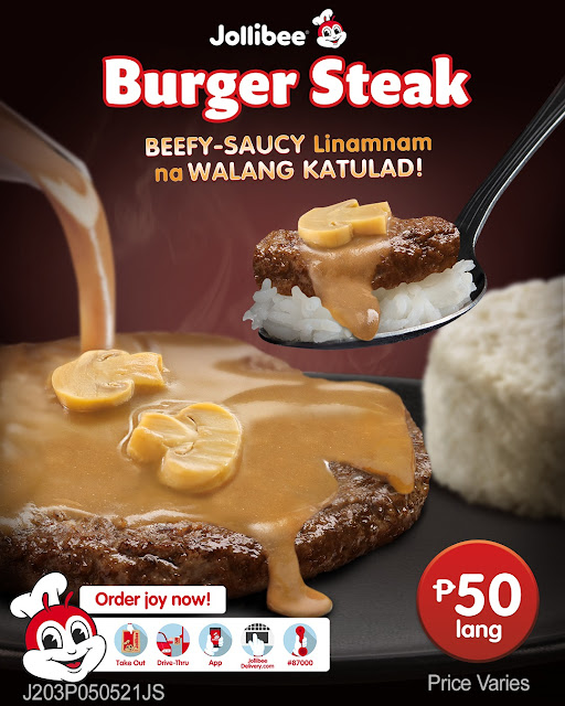 Jollibee Burger Steak ins incomparable in its beefy-juicy sauce