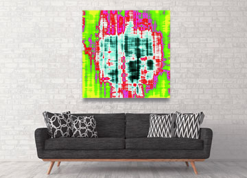 abstract art, contemporary art, large art, modern abstract, vibrant, red, green, pink, black, white, electric blue, Sam Freek,