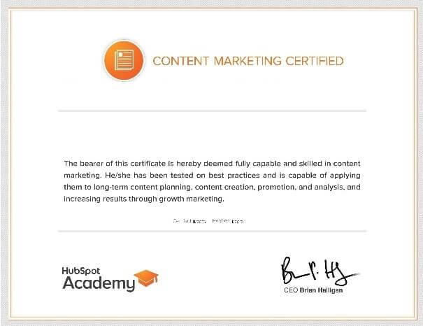 شهادة التسويق بالمحتوى من HupSpot
