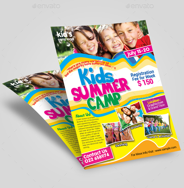 Summer camp, Camp flyer, summer camp flyer, summer fest, summer party, kids summer, template, advert, print template.