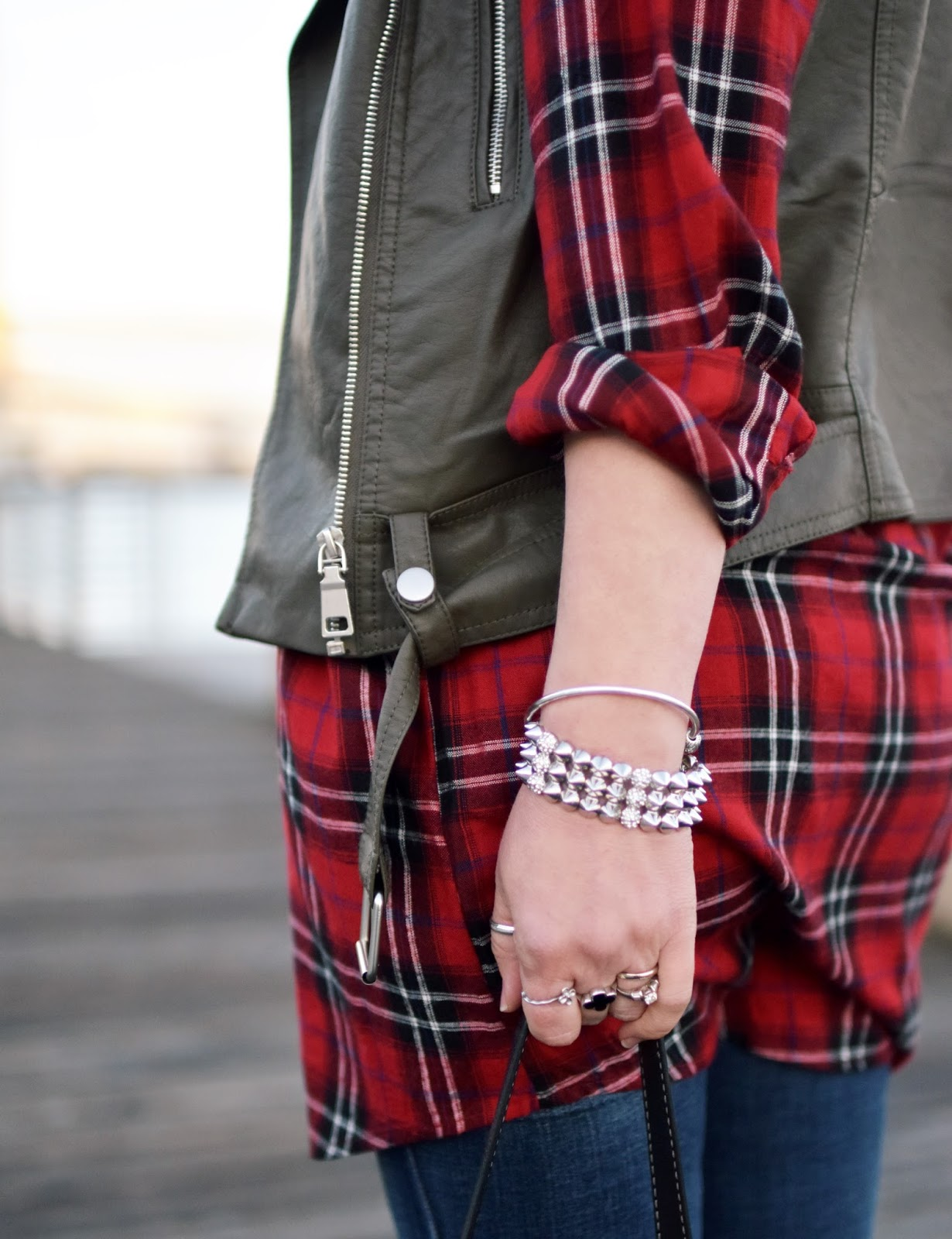 red plaid tunic, olive motocycle vest