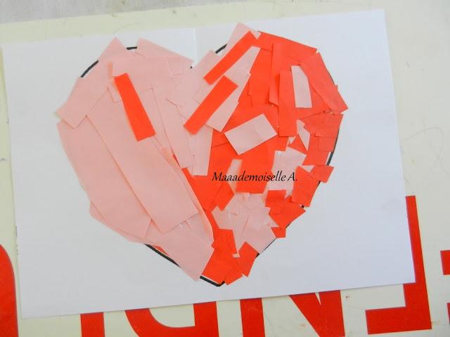 || Nos cadeaux pour la fête des pères ; Coeur en collage