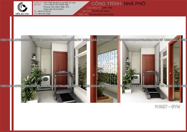 Mẫu thiết kế đẹp 2 tầng bán cổ điển mặt tiền 5m tại Long An Phong-giat-gym