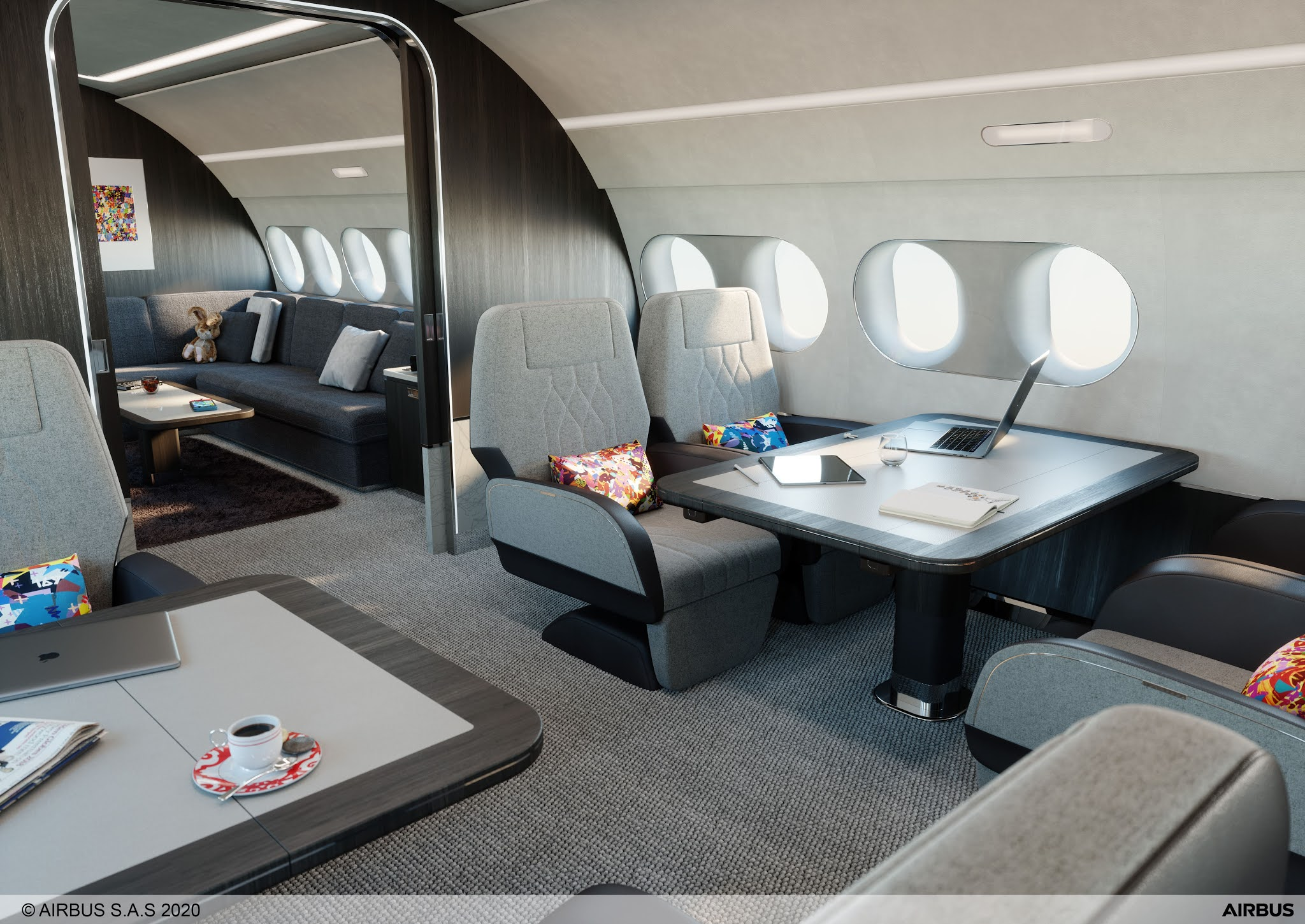 Airbus launches the ACJ TwoTwenty, jet is an A220 in the executive version and a direct competitor of the Embraer Lineage 1000   MORE THAN FLY