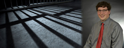 photo of H. Daniel Butler and shadows of prison bars