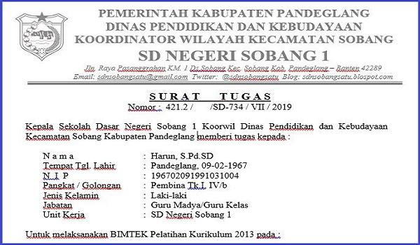 Download Contoh Surat Tugas Dan Sppd Bimtek Pelatihan