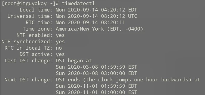 timedatectl command in linuxx
