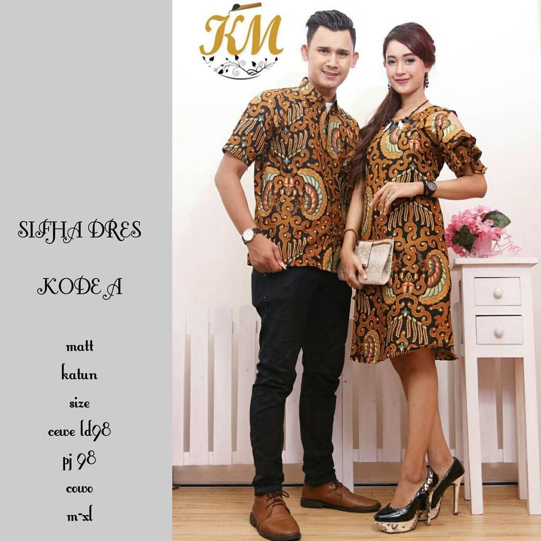 Contoh Baju Couple Gamis Batik Busana Muslim Terbaru 2018 Pesta Modern Dress Wanita Sifha Kode A Motif Solo