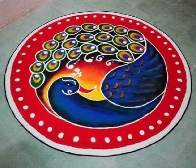 blue rangoli design of peacock