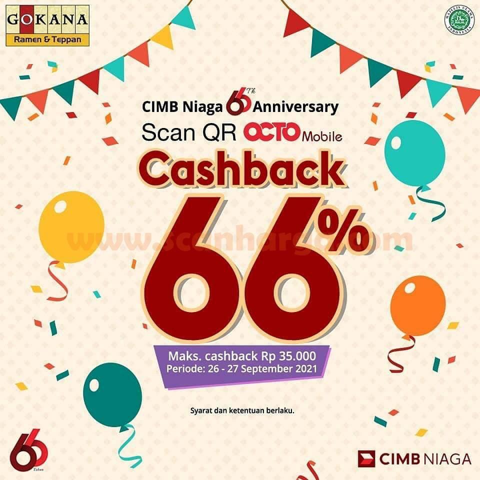 Promo Gokana Cashback 66% via QR OCTO Mobile CIMB Niaga