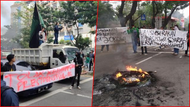 Tolak Kedatangan Jokowi ke Makassar, Mahasiswa Bakar Ban dan Tutup Jalan