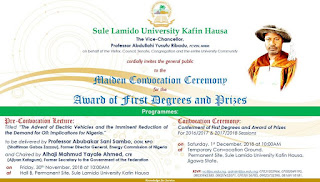 SLU Maiden Convocation Ceremony Programme of Events - 2018