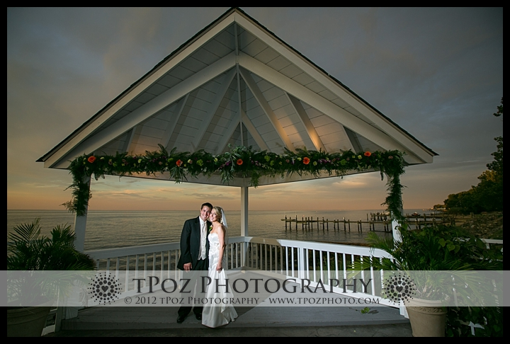 Bride Groom Sunset Photo at Kurtz's Beach Wedding Reception