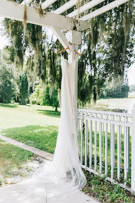 hanging wedding dress at Lake Mary Events Center