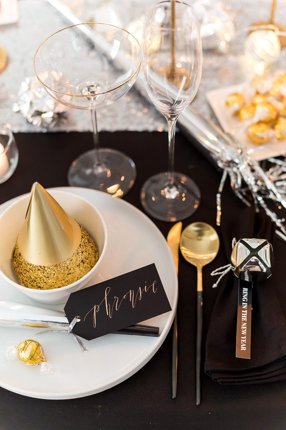 new years eve dinner party with lindt chocolate