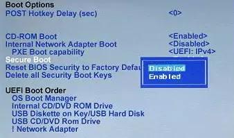 تفعيل Secure boot