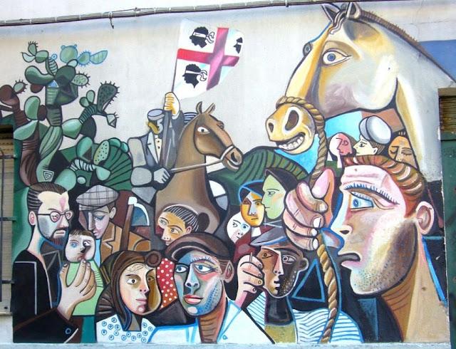Poble sard representat en mural d'Orgosolo