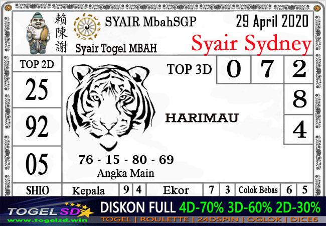 Prediksi Togel Sidney 29 April 2020 - Syair Mbah Sidney
