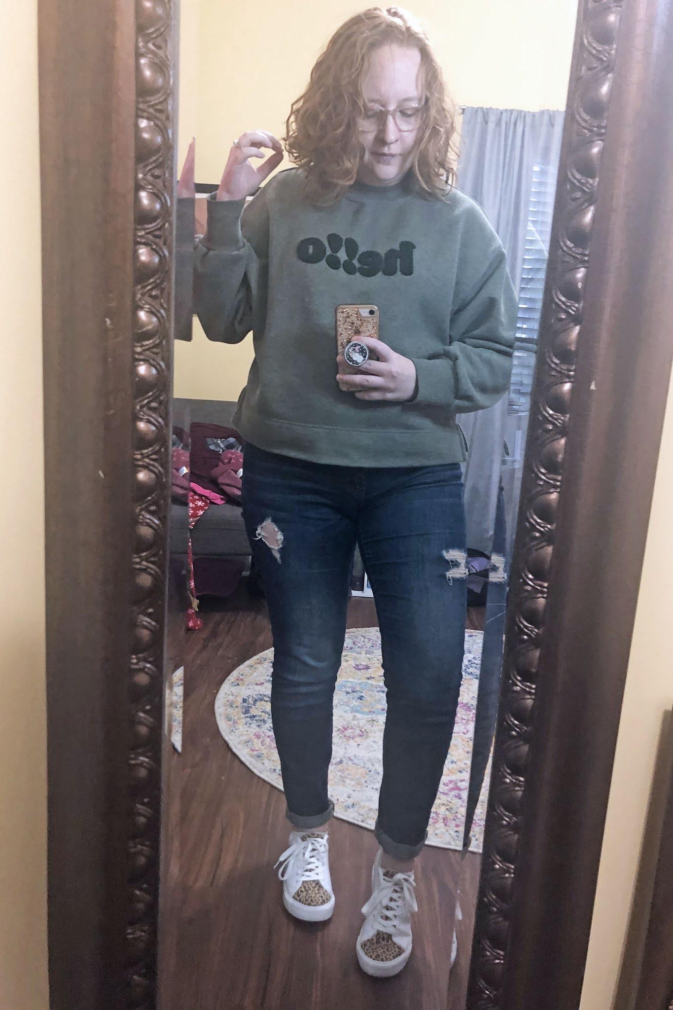hello-sweatshirt-distressed-jeans-leopard-sneakers