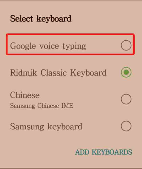 select google voice typeing
