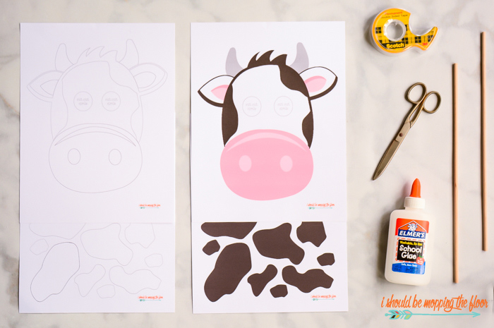 photograph about Cow Costume Printable titled No cost Printable Cow Mask and Locations i must be mopping the