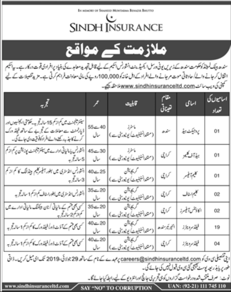 Sindh Insurance Limited Jobs 2019