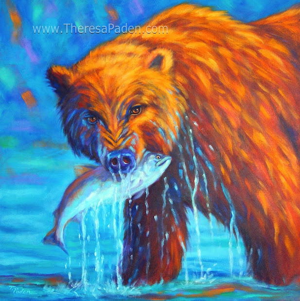 Colorful Southwestern Art Contemporary Grizzly Bear Wildlife Theresa Paden
