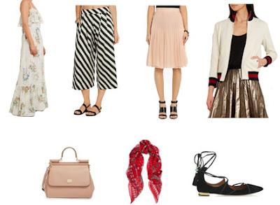 Tendências luxo vs low-cost: vestido comprido floral, culottes riscas, saia plissada rosa, blusão bomber, mala de mão rígida rosa, lenço e sabrinas pretas lace up de estilistas ou grandes marcas de luxo
