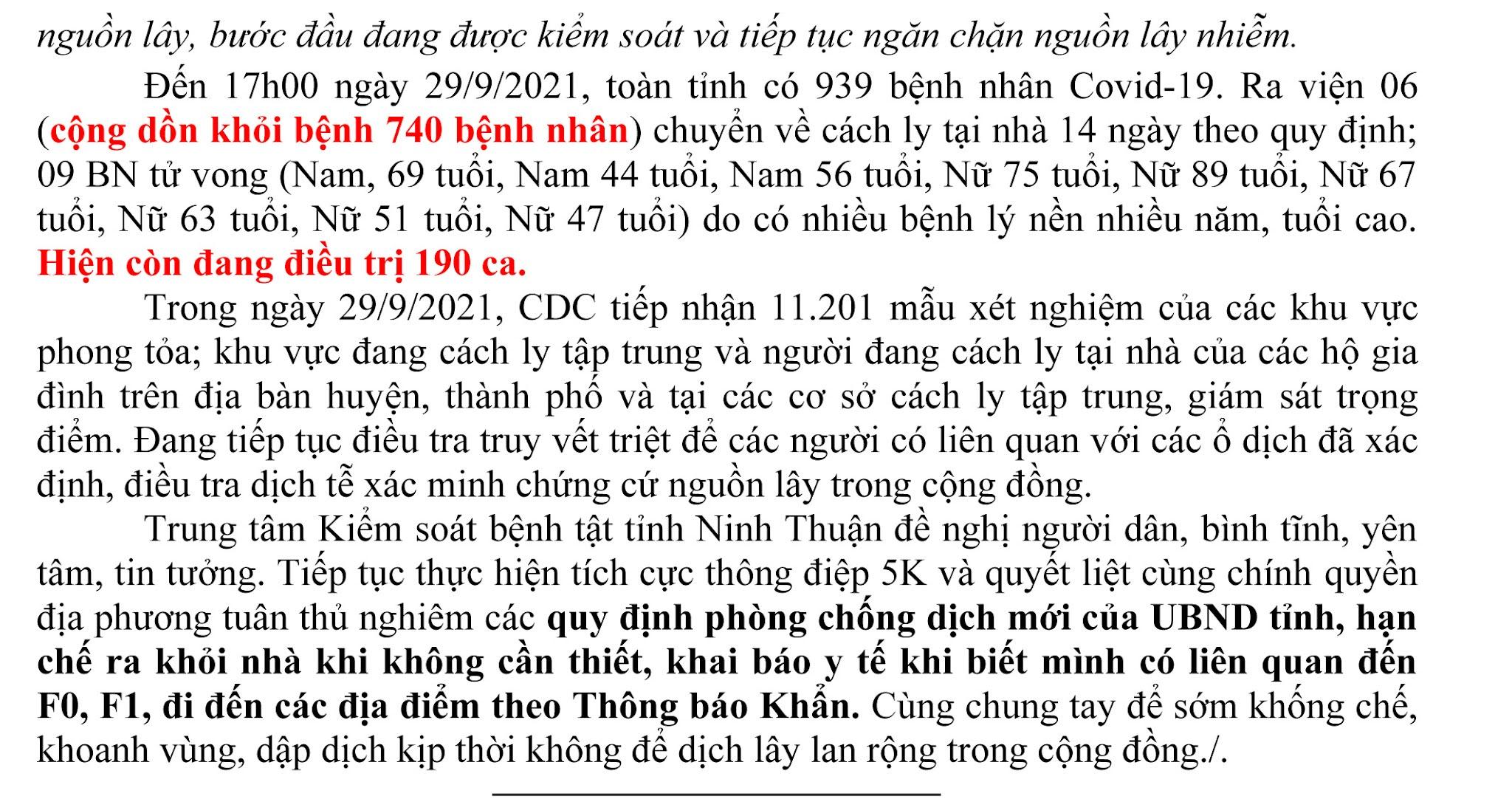 Ngày 29-9 Ninh Thuận ghi nhận 14 ca mắc Covid-19 mới trên địa bàn tỉnh